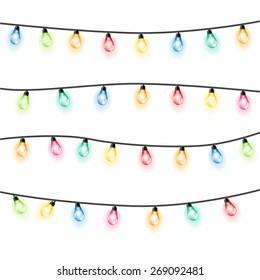 Garland Christmas lights white background. Vector illustration.