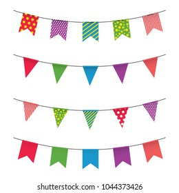 Garland with colorful flags. Carnival or fair flags on white background. Decoration for party, birthday, festival. Vector