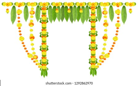 Garland for door of mango leaves and marigold flowers. Ugadi or gudi padwa indian lunar new year. Isolated on white vector decor illustration