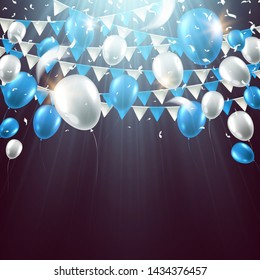Garland flag with balloons and confetti. Celebration background for party, carnival, birthday or presentation. Vector illustration.