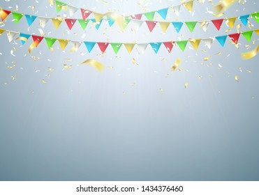 Garland flag with falling confetti. Celebration background for party, carnival, birthday or presentation. Vector illustration.