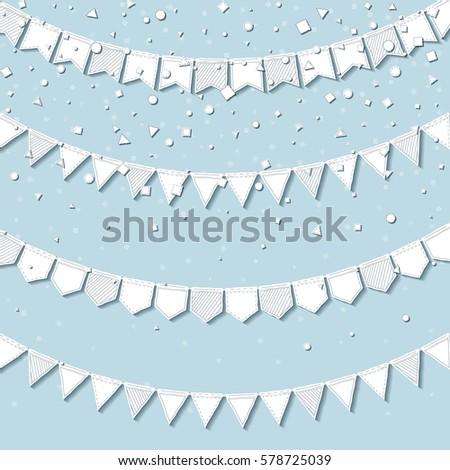 Garland Flags Splendid Celebration Card White Stock Vector (Royalty