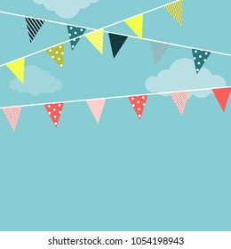 Garland flags Vector illustration Bright garlands with triangular flags with different patterns are hanging against a blue sky background Illustration in flat style