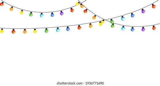 garland lamp. Festive banner design. Holiday greeting. Stock image. EPS 10.