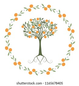 Garland of leaves, oranges and orange blossoms with orange tree inside