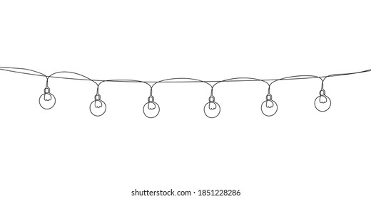 Сhristmas garland light bulbs Continuous one line drawing, Vector minimalist linear illustration made of thin single line, New Year and Merry Christmas decoration