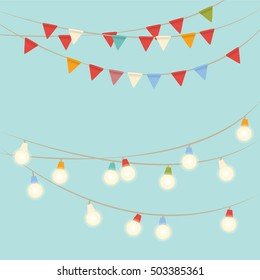 Garland lights and flags on holiday. Blue background. Vector illustration.