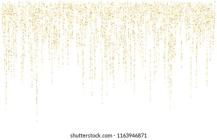 Garland lights gold glitter hanging vertical lines vector holiday background. Confetti dots rain, vip gold garlands glitter with light effect. Circle confetti falling in lines, party tinsels shimmer.