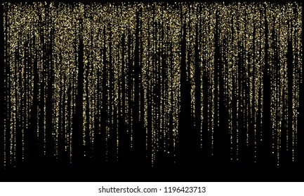 Garland lights gold glitter hanging vertical lines vector holiday background. Confetti dots rain, rich gold garlands glitter with light effect. Circle confetti falling, glowing sparkles shimmer.