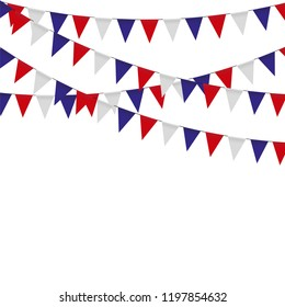 Garland with triangle celebration flags, white, blue, red pennants on a white background.
