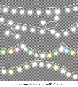 Garland twisted ropes with white and colourful bulb in star shape on transparent background. Xmas realistic overlay garlands lights. Decorative elements for parties and holidays celebration vector