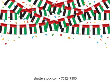 Garland UAE Flags with White Background Template, Hanging Bunting Flags for UAE National day celebration. Vector illustration