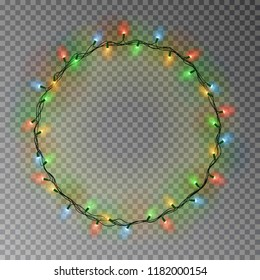 Garland wreath decorations. Christmas color lights ring with isolated shine lamps element. Glowing string for Xmas Holiday greeting card design. Vector illustration.