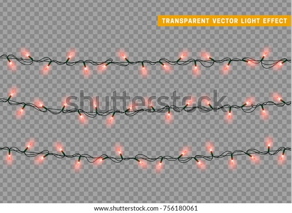 Garlands color red isolated vector, Christmas decorations lights effects. Glowing lights for Xmas Holiday.