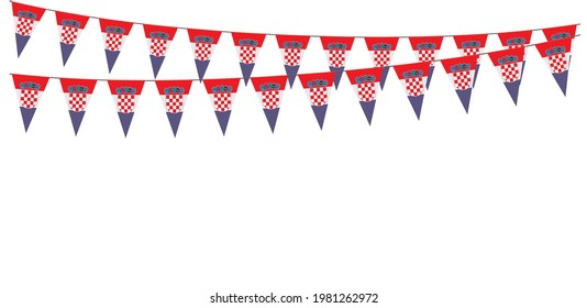 Garlands in the colors of Croatia on a white background