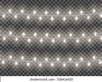 garlands, festive decorations. Glowing christmas lights isolated on transparent background