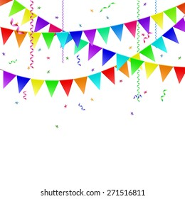 Garlands with flags, streamers and confetti. Vector image.