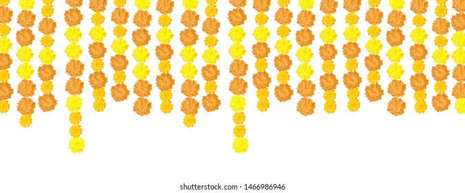Garlands of marigolds hanging down isolated on a white background. A border of flowers. Format horizontal banner. Vector graphics.
