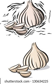 Garlic and garlic clove in woodcut line style.