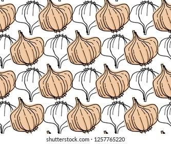 Garlic seamless pattern background - Vector illustration