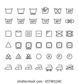 Garment care symbols: thin monochrome icon set, black and white kit