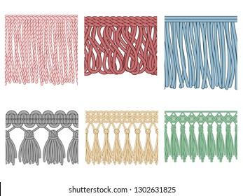 Garment fringe. Ruffle seam trim, raw textile edge and tassel braid ruffles. Fashion frills tools, yarns material fabric. Isolated seamless patterns illustration icons set