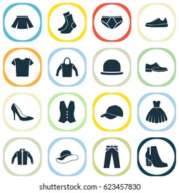 Garment Icons Set. Collection Of Stylish Apparel, Waistcoat, Trilby And Other Elements. Also Includes Symbols Such As Trilby, Half-Hose, Clothes.