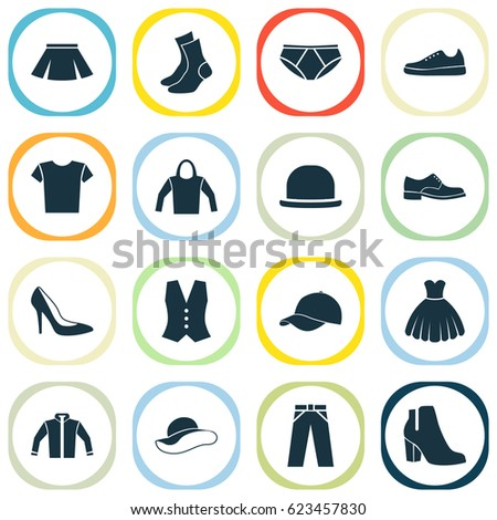 cb62da6c Garment Icons Set. Collection Of Stylish Apparel, Waistcoat, Trilby And  Other Elements. Also Includes Symbols Such As Trilby, Half-Hose, Clothes. -  Vector