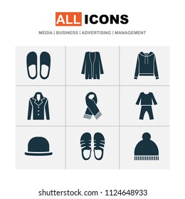 Garment icons set with scarf, pajamas, fedora and other beanie elements. Isolated vector illustration garment icons.