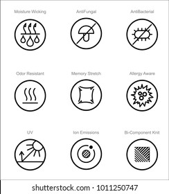 Garments fabric technology and properties vector icon set. Moisture Wicking, Anti Fungal, Anti Bacterial, Ion Emissions, Allergy Aware