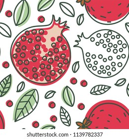 Garnet seamless pattern. Hand drawn fresh pomegranate. Vector sketch background. Doodle wallpaper. Exotic tropical fruit. Red print