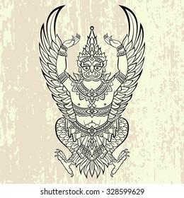 Garuda, bird of Vishnu. Vector illustration.