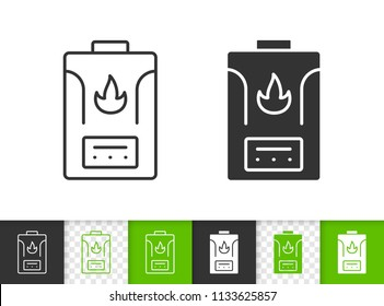 Gas boiler black linear and silhouette icons. Thin line sign of water heater. Climatic equipment outline pictogram isolated on white green transparent. Vector Icon shape. Boiler simple symbol closeup