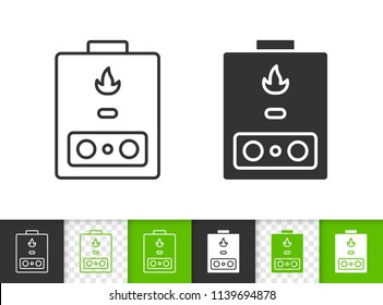 Gas boiler black linear and silhouette icons. Thin line sign of heaning. Water heater outline pictogram isolated on white green transparent backdrop. Vector Icon shape Gas boiler simple symbol closeup