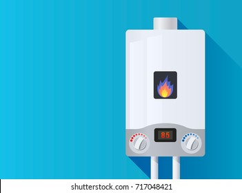 Gas boiler with a burning fire on a blue background. Heated gas boiler. Vector illustration isolated illustration