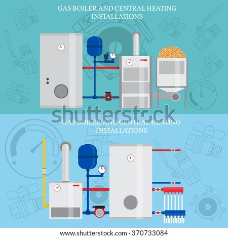 Gas Boiler Central Heating Installations Flat Stock Vector (Royalty ...