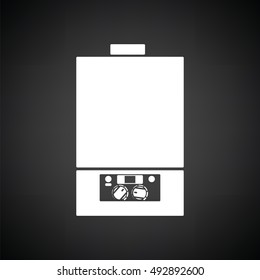 Gas boiler icon. Black background with white. Vector illustration.