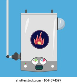 gas boiler, on a blue background, fire inside,  vector cartoon illustration, temperature sensors