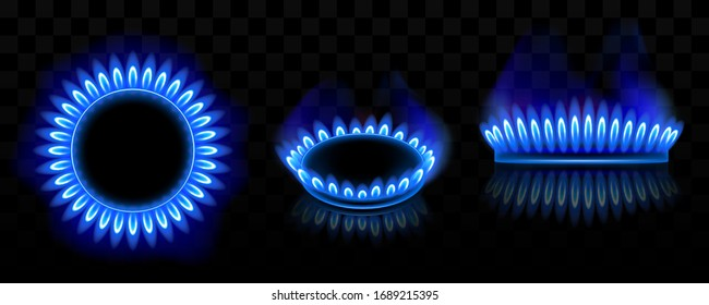 Gas burner with blue flame, glowing fire ring on kitchen stove. Vector realistic mockup of burning propane butane in oven for cooking in top and side view isolated on black background