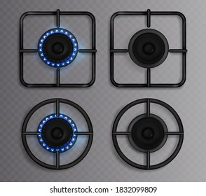 Gas burner with blue flame. Kitchen stove with lit and off hob. Vector realistic set of circle and square black steel grates and burners on oven for cooking top view isolated on transparent background