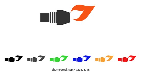 Gas Burner Nozzle Fire icon. Vector illustration style is a flat iconic gas burner nozzle fire symbol with black, gray, green, blue, red, orange color versions.