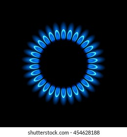 Gas burners, blue flame, vector background