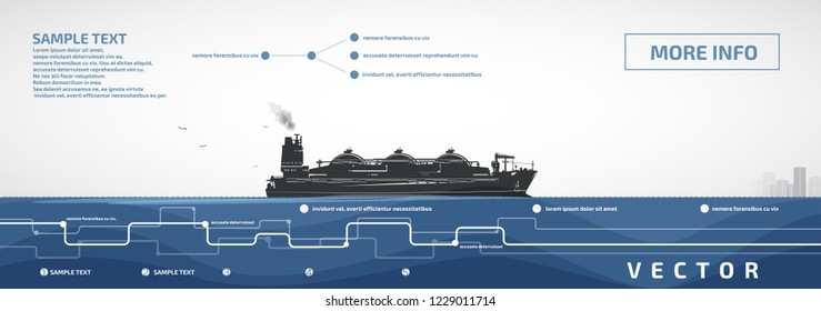 Gas carrier sailing on the sea or ocean, vector infographics.