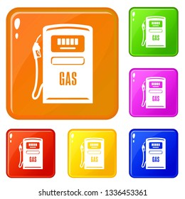 Gas column icons set collection vector 6 color isolated on white background