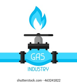 Gas control valve. Industrial illustration in flat style.