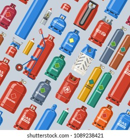 Gas cylinder vector lpg gas-bottle and gas-cylinder illustration set of cylindrical container with liquefied compressed gases with high pressure and valves seamless pattern background