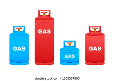 Gas cylinder vector tank. Lpg propane bottle icon container. Oxygen gas. Vector stock illustration