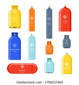 Gas cylinders icons. Petroleum safety fuel metal tank of helium butane acetylene vector cartoon objects isolated. Tank butane and propane, gas cylinder