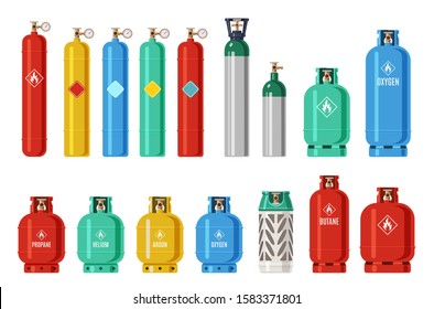 Gas cylinders. Lpg propane container, oxygen gas cylinder and canister. Fuel storage liquefied compressed gas high pressure vector camping equipment set