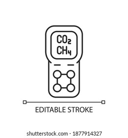 Gas detector linear icon. Detecting gas leak and other emissions. Safety system. Thin line customizable illustration. Contour symbol. Vector isolated outline drawing. Editable stroke